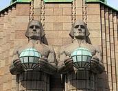 Granite, statues, Helsinki Central railway station, Helsinki, Finland