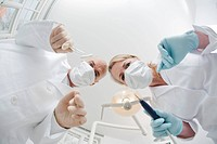 Germany, Bavaria, Landsberg, Dentist and Female Dentist, low angle view, portrait
