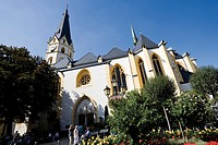 Germany, Rhineland_Palatinate, Bad Neuenahr Ahrweiler, St. Laurentius Church, low angle view