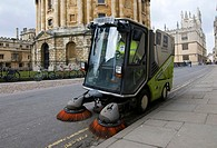 A 'green machine' cleaning the streets outside the Radcliffe Camera Oxford