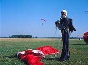 Parachute jumper after a jump