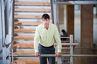 Businessman on stairwell