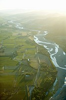 Marlborough, aerial view of Wairau River on sunset