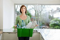 Woman doing recycling