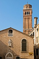 Campanile and Typical Chimney,  Library Scoletta dei Calegheri, Venice, Italy