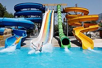 Waterslides in Grand Ucel Aquapark  Village of Ovacik near Fethiye, Turkey