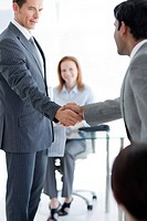 Businessmen greeting each other at a job interview in an office