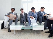 International business people sitting in a waiting room Business concept