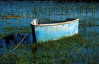 Small row boat in marsh grass