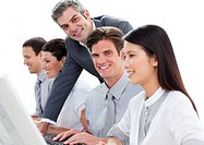 Assertive manager working with his team against a white background