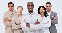 Confident Afro_American businessman leading his team with folded arms