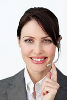 Glowing businesswoman with headset on isolated on a white background