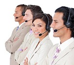 Assertive customer service representatives standing in a row against a white background