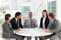 A diverse business group discussing a budget plan in a meeting