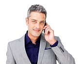 Confident Businessman on phone against a white background
