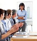 International business people clapping a good presentation against a white background