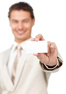 Businessman holding a white card against a white background