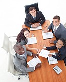 High Angle of multi_ethnic and happy business people in a meeting
