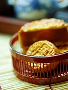 Close_up of Chinese moon cakes