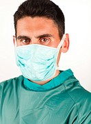 Young surgeon with mask ready to work
