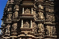 Row of fine sculptures , Chitragupta temple , western group , Khajuraho , Madhya Pradesh , India