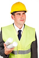 Confident male architect holding plans and wearing a hard hat
