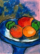 Fruit Study I, by Ashton Hinrichs, pastel on paper, 20th Century
