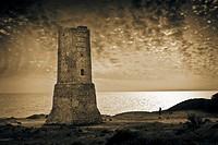 Tower, Cabopino, Marbella. Costa del Sol, Malaga province, Andalusia, Spain