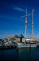 USA, Maryland, Baltimore, tall ship in harbour