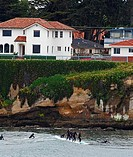 Peoples surfing in the ocean, Steamer Lane, Santa Cruz, California, USA