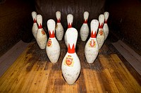 Bowling in an old two-lane bowling alley in the Barrow Mansion, Jersey City, NJ