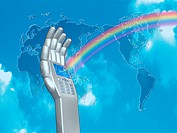 Image of robot´s hand with mobile phone making rainbow, world map in background, computer graphic
