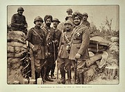 The maharaja / maharajah of Patiala, India visiting trench with officers in Flanders during the First World War, Belgium