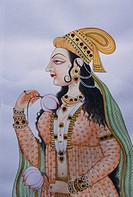 Miniature painting of mughal lady on paper
