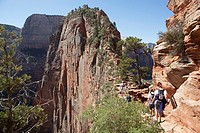 Hiking up Angels Landing in Zion National Park, Utah, USA