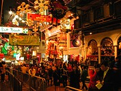 People celebrating Christmas at Lan Kwai Fong, Central, Hong Kong