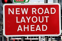 ´New Road Layout Ahead´ road sign, UK