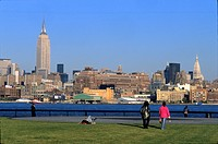 People at the Hudson River Park in the sunlight, Hudson River, Manhattan, New York, USA, America