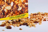 Box of muesli advertised as having 29 less fat