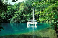 Boat at a lagoon in the sunlight, Blue Lagoon, Port Antonio, Portland, Jamaica, Caribbean, America