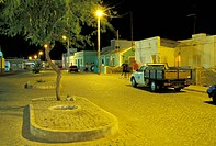 Street at night, Santa Maria, Sal, Cape Verde, Africa