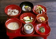 Japan, Kyoto,tray of dishes vegetarian cuisine of Buddhist monks, Shojin-ryori (vegetable cuisine)