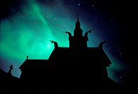 Northern lights above stavechurch, Borgund, More og Romsdal, Norway, Europe