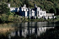 View of Kylemore Abbey with lake, County Galway, Ireland