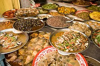 A selection of chinese food, Chinatown, Bangkok´s oldest residentail and business district, Bangkok, Thailand