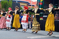 Children of Greek ehritage perform traditional Greek dances at a festival in Hobart Tasmania Australia