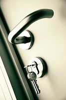 Door handle with keys in