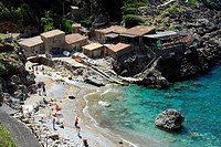 Beach and houses in the Cala de Deia bay, Mallorca, Majorca, Balearic Islands, Mediterranean Sea, Spain, Europe