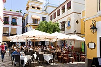 Plaza de los Venerables in the jewish quarter of Sevilla, Province Sevilla, Andalucia, Spain