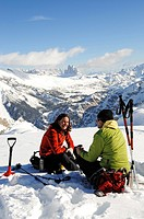 Ski Tour, Grosser Jaufen, Pragser Valley, Hochpuster Valley, South Tyrol, Italy,